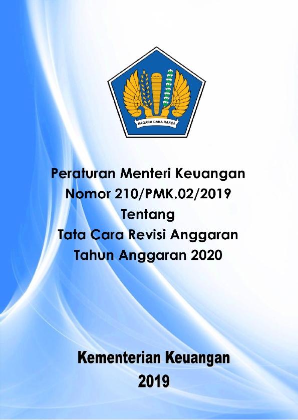 PMK 210/2019 Tentang Pedoman Revisi Anggaran 2020