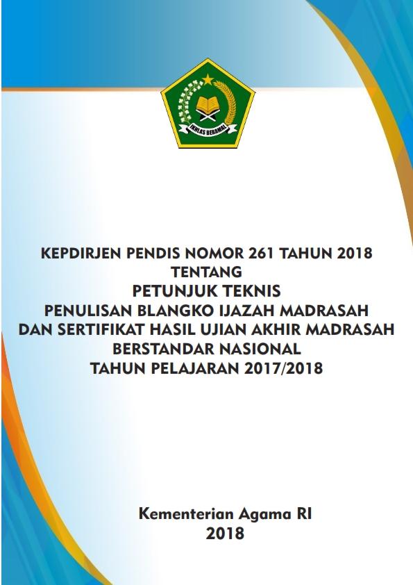 Juknis Penulisan Ijazah dan SHUAMBN Madrasah TP.2017/2018