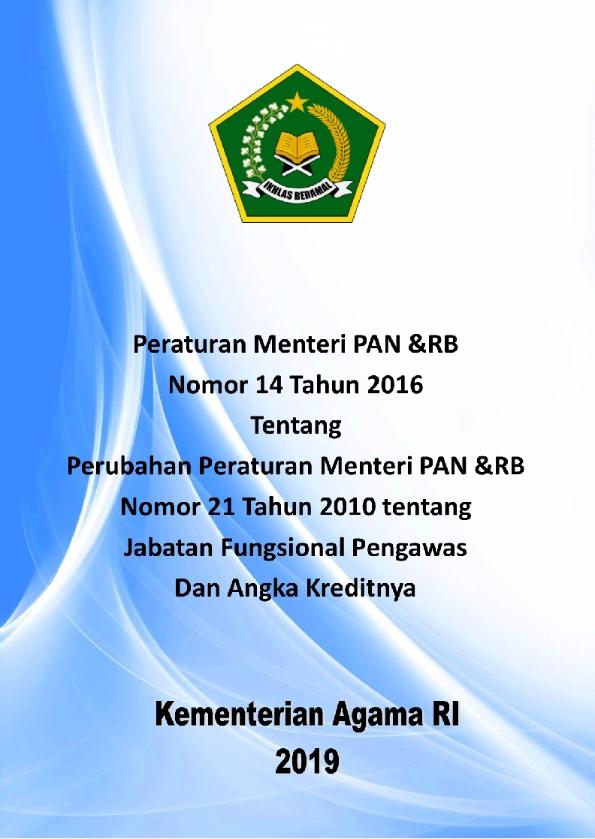 PerMenpanRB nomor 14/2016 tentang Perubahan PermenpanRB Nomor 21/2010 tentang JF Pengawas dan Angka Kredit