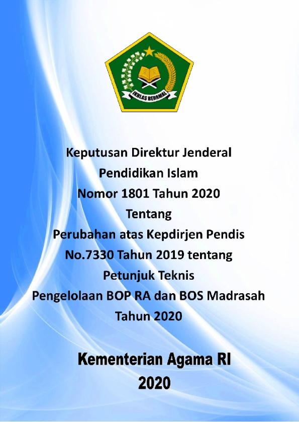 Perubahan Juknis BOS Madrasah Tahu 2020