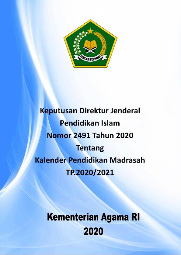 Kalender Pendidikan Madrasah TP.2020/2021