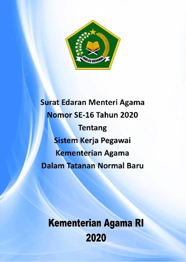 SE Menag 16/2020 – Sistem Kerja Pegawai Kemenag di Tatanan Normal Baru