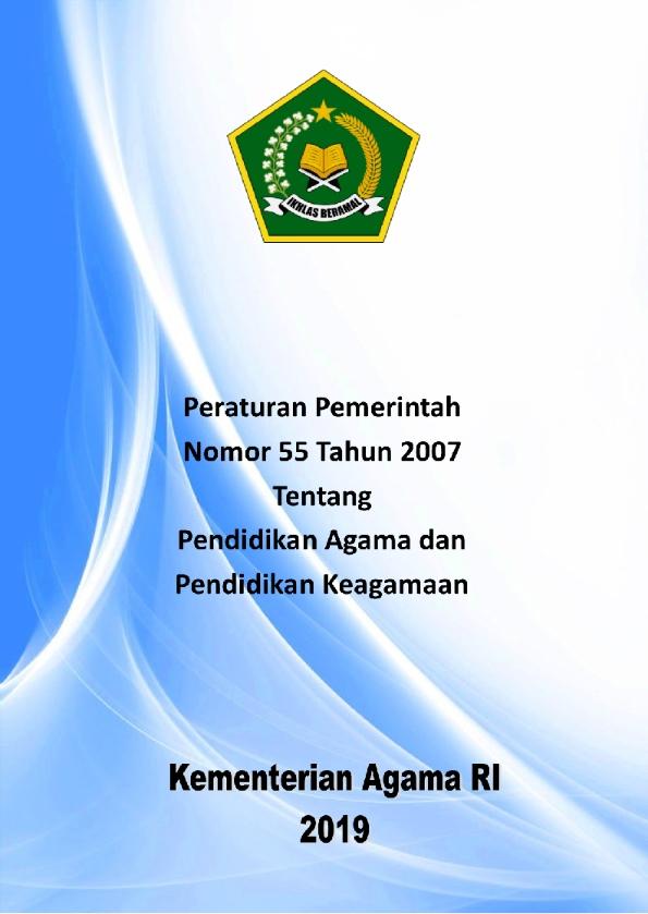 PP 55/2007 Tentang Pendidikan Agama dan Keagamaan