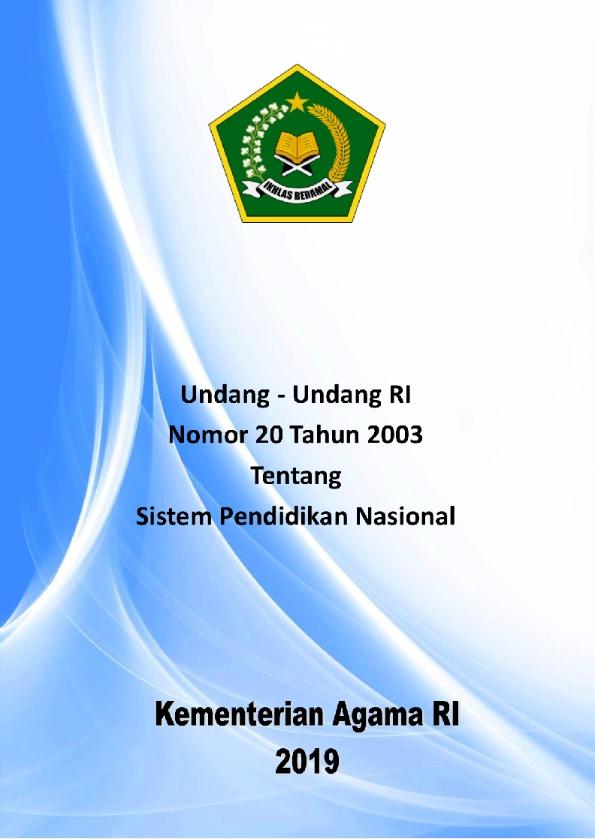UU 20/2003 tentang Sistem Pendidikan Nasional