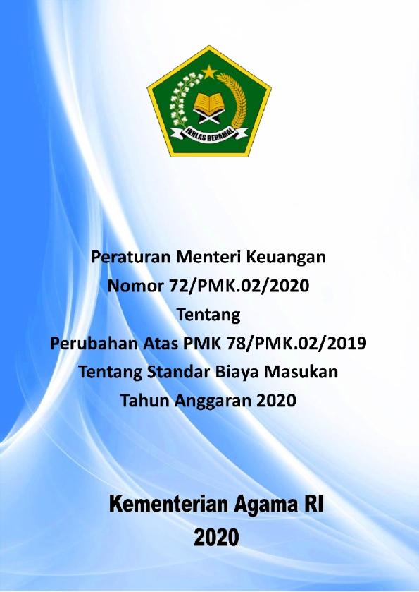 PMK 72/2020 tentang Perubahan SBM TA. 2020