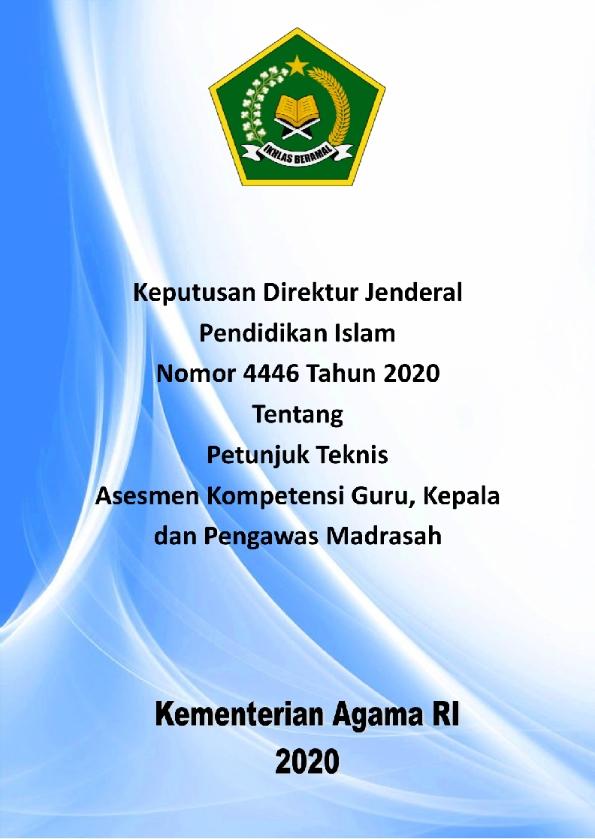 Juknis Asesmen Kompetensi Guru, Kepala dan Pengawas Madrasah