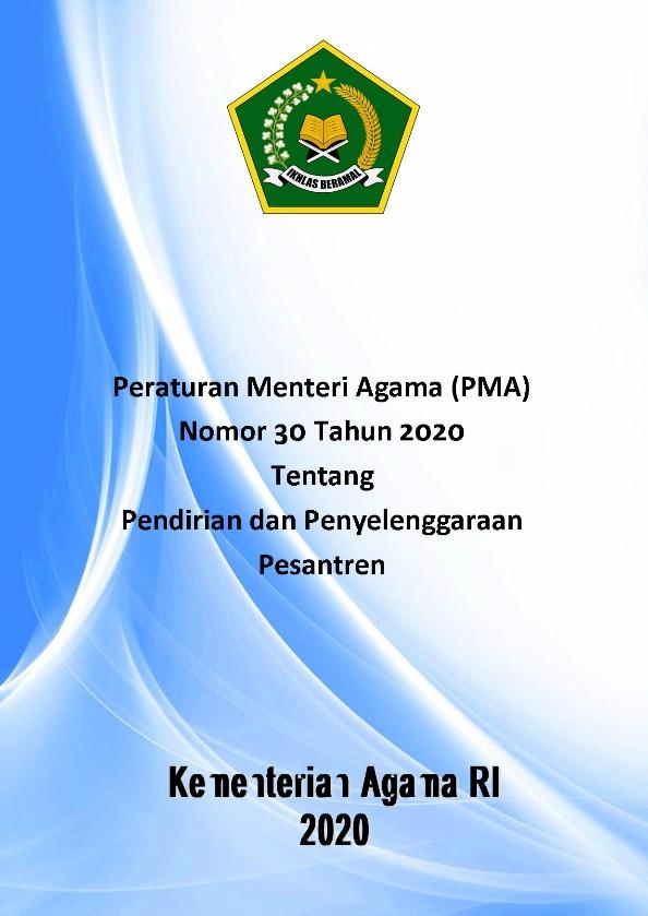 PMA 30 Tahun 2020 Tentang Pendirian dan Penyelenggaraan Pesantren