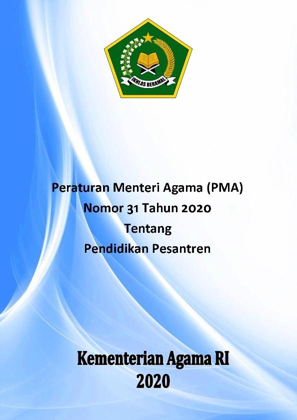 PMA 31 Tahun 2020 tentang Pendidikan Pesantren
