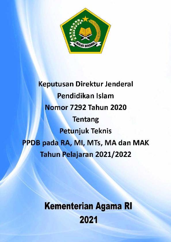 Juknis PPDB pada RA, MI, MTs, MA dan MAK TP.2021/2022